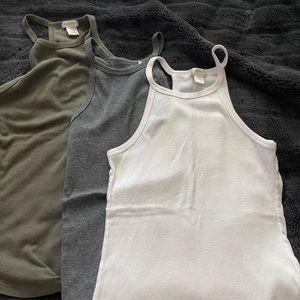 3 high neck ribbed tanks